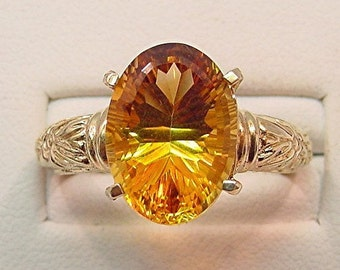 AAA Natural Citrine   14x10mm  5.85 Carats   with concave cut 14K Yello gold floral ring  0139 MMMM
