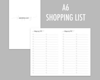 A6 TN Shopping List