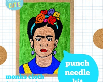 Frida punch needle kit. Monks cloth fabric, NO FRAME optional adjustable punch needle, yarn, pattern and instructions. Intermediate.