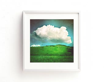 """landscape, clouds, summer, colorful modern, large art, large wall art, square wall art, art print, fine art photography, prints - """"Hover"""""""