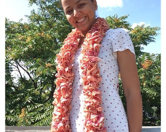 Handmade Loom knit ruffle scarf. Pink and Gold Womens fashion scarf. Ladies wear. Sashay Ruffle Yarn with sequence.
