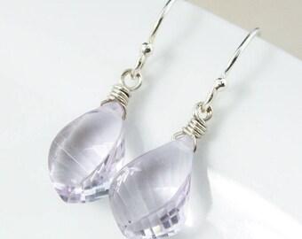 Silver Pink Amethyst Drop Earrings - Briolette Earrings