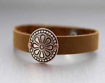 Copper Flower Leather Cuff, Copper Cuff Bracelet, Brown Leather Cuff Bracelet, Adjustable Bracelet, Womens Cuff, Flower Bracelet, Boho Cuff