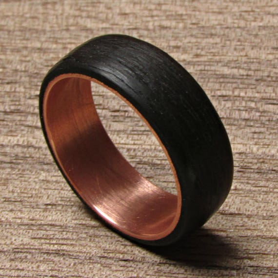black rings for men dark wood wedding band alternative