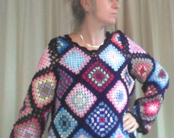Granny Square Boho Hippy Sweater