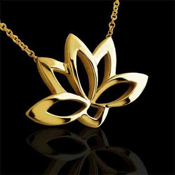 Lotus Flower Necklace Sacred Lotus Necklace Yellow Gold