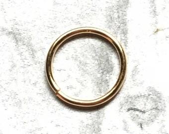 18K Gold Hoop, 14, 16, 18, 20, 22, 24 Gauge, 18K Gold Nose Ring, 18K Gold Cartilage Earring, 6mm - 12mm, 18K Gold Septum Ring
