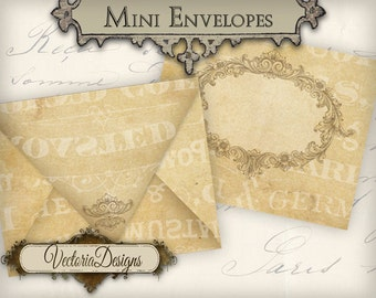 Very Tiny Mini Envelopes vintage instant download printable envelope digital collage sheet VD0635
