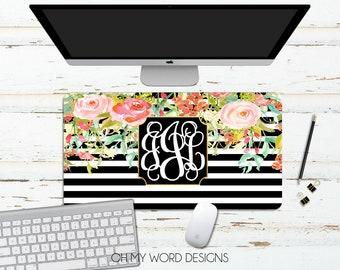 Monogram Desk Mat-Desk Mat-Over Sized Mouse Pad-Neoprene Desk Mat-Mouse Pad-Desk Accessories-Monogram Desk Mat-Gifts for Her-Personalized