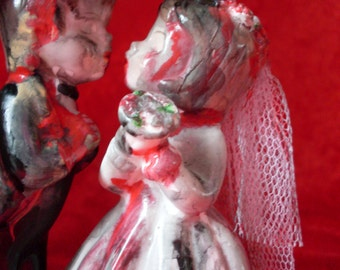 Zombie Bride and Cowboy Groom Cake Topper