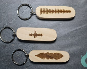 PERSONALISED Sound Wave Voice Key ring