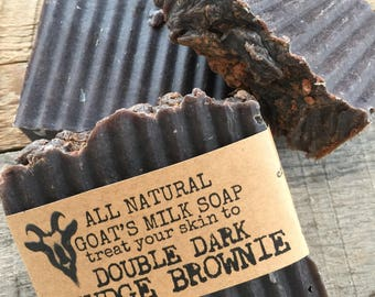 Natural Goat Milk Soap Double Dark Fudge Brownie - Chocolate for Your Skin. Best Dry Skin Soap.