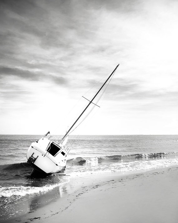 Beach art surf decor black and white photography sailboat
