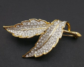 Vintage Rhinestone Fall Leaf Spray Brooch Encruated with Clear Rhinestones on Golden Leaves Pin