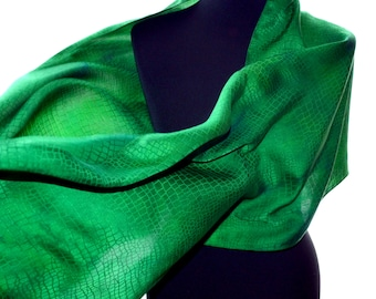 Green silk scarf, fashion scarf, silk evening shawl, unique handmade scarves, large silk shawl, handpainted scarf wife, festival batik scarf