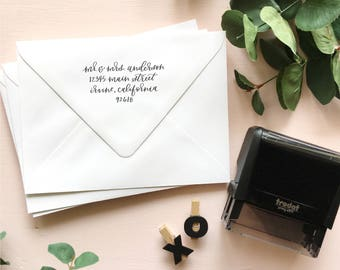 Address Stamp | Return Address Stamp | Custom Address Stamp | Self Ink Stamp | Bridal Shower Gift | Self Inking Calligraphy Address Stamp