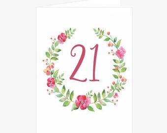 Pretty 21st Birthday Card, Flower Wreath Birthday Card, Pink, Green, Birthday Card for daughter, Card for her, Card for niece