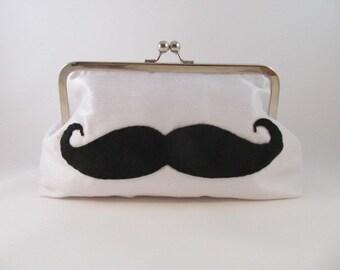White Silk Mustache Clutch-Clutch-Purse-Handbag-Kisslock-8 inch