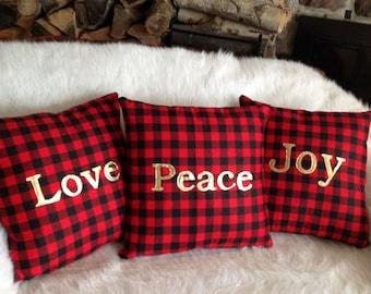 Holiday Pillow Cover, Peace Love Joy Pillows, Decorative Pillows, Throw Pillows, Buffalo Plaid Pillow, Gold Christmas Decor, Gifts Under 30