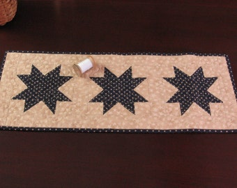 Quilted Table Runner Blue Stars Reversible Homespun Check  9 x 24 Country Primitive Farmhouse Decor Handmade Quilt for Sale
