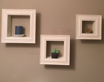 White cube shelves (set of 3)