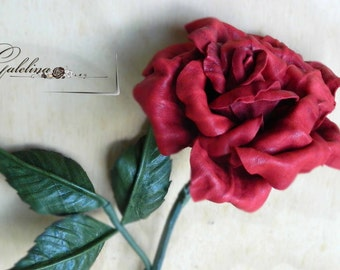 Leather flower rose red  third leather Anniversary wedding gift Long Stem  Valentine's Day   Mother's Day