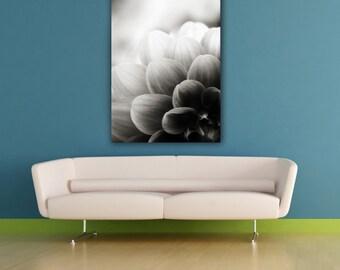 Flower Photograph, Floral Fine Art Macro Photo Print, Botanical Black and White Zinnia Photography, Geometric Nature Vertical Wall Art