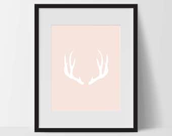 Wall Print Art, Antler Art, Boho Print Decor, Digital Art Print, Antler Print, 8x10, Pink, White, Minimalist Prints, Black and White