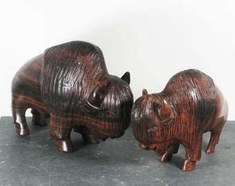 Vintage Pair of Wood Bison / Buffalo - Ironwood or other heavy wood - carved wood