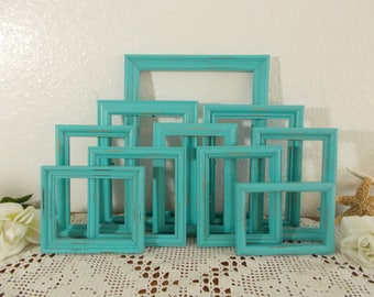 Blue Picture Frame Set Up Cycled Vintage Rustic Shabby Chic Distressed Wood Photo Decoration Beach Cottage Coastal Seaside Island Home Decor