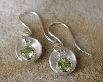 Peridot and Domed Sterling Silver Earrings