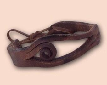 Handmade Agnes Leather Bracelet 009 Brown