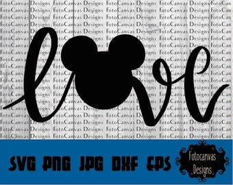 Disney SVG Mickey Head, Love, ClipArt, Iron On, Vinyl, Silhouette Cameo, Cricut, Mickey Mouse, Disney, Disneyland, Disneyworld, Disney