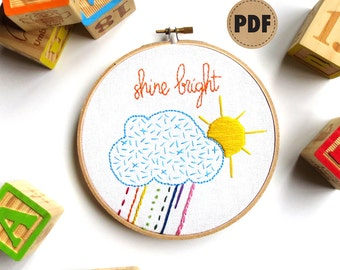 Beginner Embroidery Sampler DIY Crafts, Sun Cloud Downloadable PDF Embroidery Pattern, Colorful Nursery Wall Art, Rainbow Playroom Decor