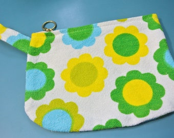 Handmade retro zipper pouch of vintage 1960s yellow/ green/ blue/ white cotton terry fabric for many kind of small things