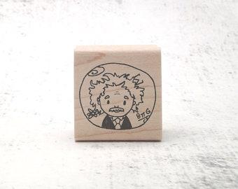 The Chibi Einstein Curiosity Stamp - Albert Einstein Rubber Stamp - Teachers Stamp - Physics and Math Stationary