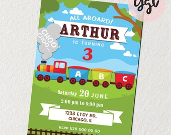 TRAIN INVITATION, train birthday, train party, train printable, train invite, Choo Choo invite, train 1st birthday, train 2nd birthday