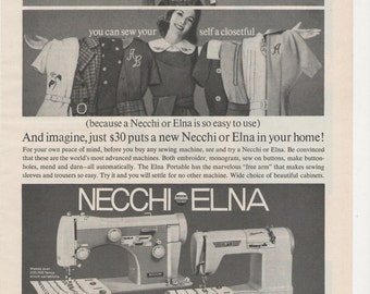 1960 Advertisement Elna Necchi Sewing Machine Black and White 60s Sew Home Fashion Style Sewing Craft Studio Room Wall Art Decor