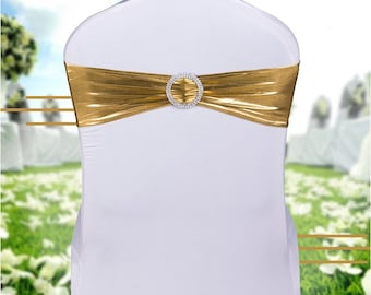 Metallic Gold Spandex Chair Bands Chair Sashes Chair Bow Tie Ribbon Wedding Engagement Birthday Anniversary Party Bouquet Chair Decoration