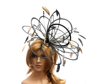 Black and Metalic Gold Large Feather Fascinator Hat - Perfect for a Mother of The Bride, ladies day - choose any colour feathers and satin
