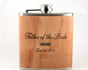 Personalized father of the bride gift or groom. Wood wrapped flask   Unique wedding gift
