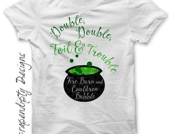 Cauldron Iron on Transfer - Iron on Halloween Shirt / Double Double Toil and Trouble Shirt / Witches Cauldron Tshirt / Toddler Baby IT506
