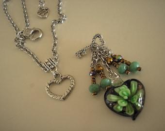 Lampwork Heart Green Flower Necklace