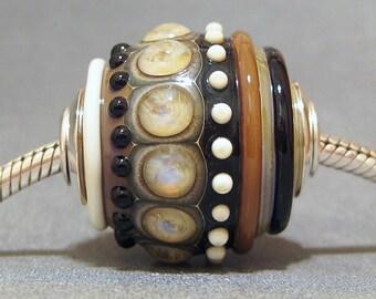 Organic Handmade OOAK Focal Round Lampwork Glass Necklace Bead AKDesigns Tribal Orb