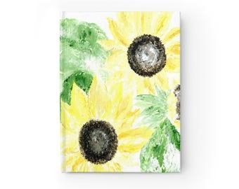 Sunflower Journal, flower journal, floral journal, floral notebook, flower notebook, sunflower notebook, yellow journal, yellow notebook