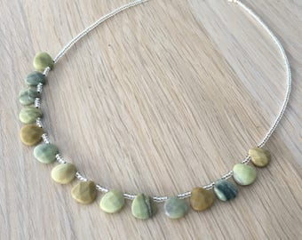 Butter Jade and sterling silver necklace - gemstone necklace