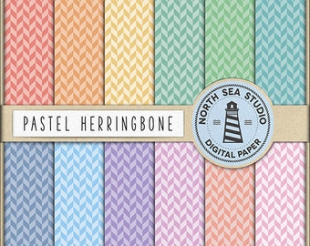 Herringbone Digital Paper Pack   Scrapbook Paper   Printable Backgrounds   12 JPG, 300dpi Files   BUY5FOR8
