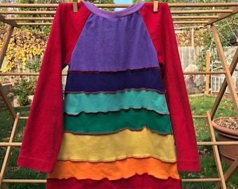 Long sleeved rainbow dress, rainbow dress, upcycled rainbow dress, upcycled dress, all sizes