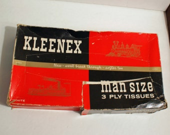 Man Size Kleenex Tissues Vintage  3 ply One Square Foot - box damaged