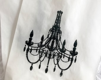 Paris French FAVOR BAGS, CHANDELIER, Glassine or Kraft